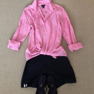 ラルフローレンのピンクのリネンシャツであぁ夏休み