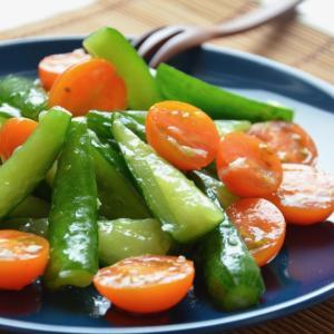 ガーリックドレッシングできゅうりとミニトマトのサラダ