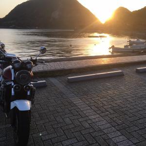 西港の夕陽