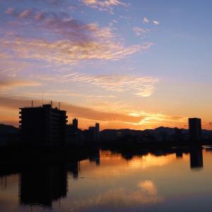 鏡川 令和2年1月23日の夕焼け