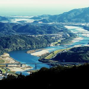 いの町仏ケ峠より仁淀川八田堰付近の画像3種類