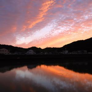 鏡川 江ノ口鴨田堰で見た夕焼け