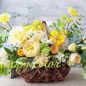 黄色いお花のバスケットアレンジ