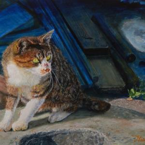 「漁港の猫」油彩画 F10/伊達市/噴火湾