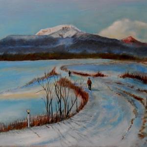 「雪の散歩道」油彩画 F6/伊達市/風景画/噴火湾