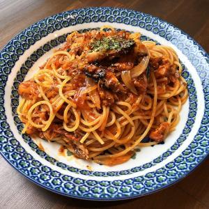 鯖のみりん焼きミートソーススパゲッティ