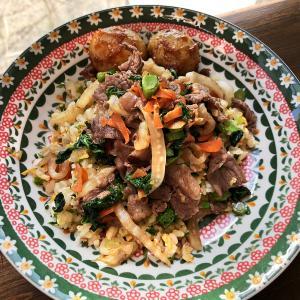 肉野菜炒めかけチャーハン