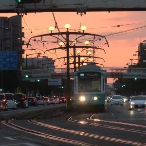夕暮れの豊橋市電