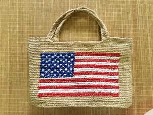 「麻ひも」で編む 刺繍入り大きなトートバッグ