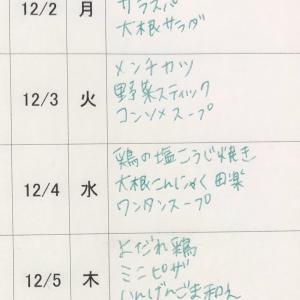 12/1(日)〜12/6(金)の献立