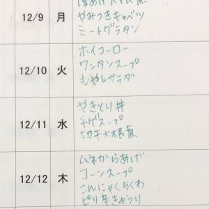 12/8(日)〜12/13(金)の献立