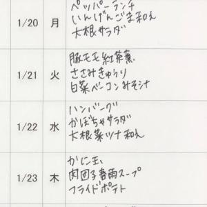1/19(日)〜1/24(金)の献立