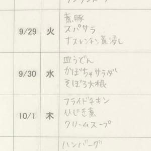 9/28(月)〜10/2(金)の献立