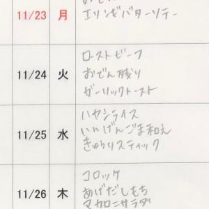 11/22(日)〜11/27(金)の献立