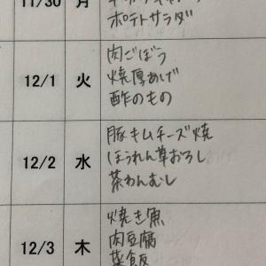 11/29(日)〜12/4(金)の献立