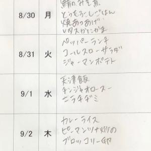 8/29(日)〜9/3(金)の献立