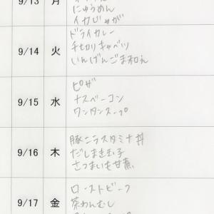 9/13(月)〜9/17(金)の献立