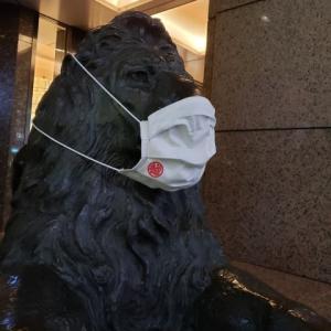 銀座三越のライオンもマスクしています