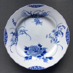 染付四季草花文ディナー皿