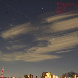 20/04/07  昨日と今日の国際宇宙ステーションのISS と 今日の大きなお月様。 月齢14日目。