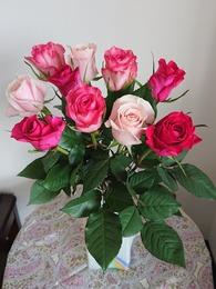 誕生日のバラの花束が届きました♡
