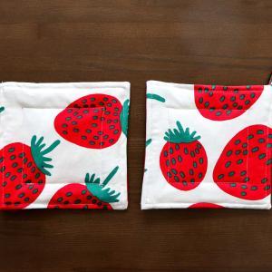 母の日の贈り物にマンシッカのポットホルダーを縫いました☆自分の趣味全開の贈り物セット(^^;;