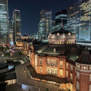 東京駅 丸の内駅舎ライトアップ KITTE屋上庭園から(2021.6.9)