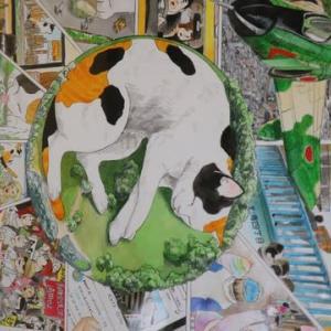 ドコフク風 高橋 舞の作品 店内に展示中 巨大猫が出現
