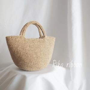 シンプルな麻ひもかごバッグ