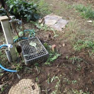 10月15日・延長設置した散水ホースを埋設しました!