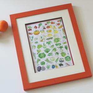 野菜と果物のポスターを額装