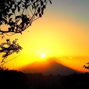 ほぼダイヤモンド富士の夕景