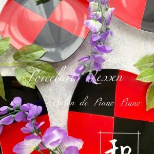 【手作りの良さを】鮮やかな黒赤市松模様プレート!