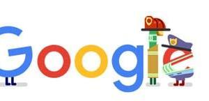 Googleのロゴ..救急隊員のみなさん、ありがとう。