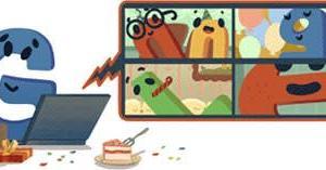 Googleのロゴ..Google 22 周年