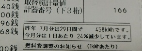 電気代24パーセント減