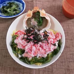 紅ずわいがにの甲羅丼、美味し~い!