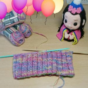 リブ編みのニット帽編み始め  100均毛糸コロル