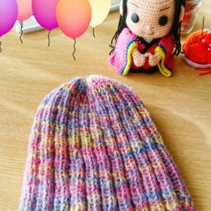リブ編みのニット帽② ここまで出来ました