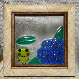紫陽花とカエル君