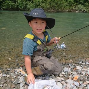 我が弟子ルアー釣り開眼、木曽川本流