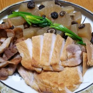 昨日の晩御飯「大根の煮物と豚ロース焼き」