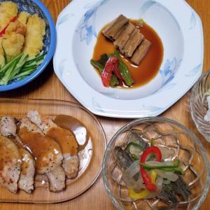 昨日の晩御飯「はもの湯引き」「アジの南蛮漬け」「煮穴子」「豚肉の胡麻味噌焼き」「とり天」