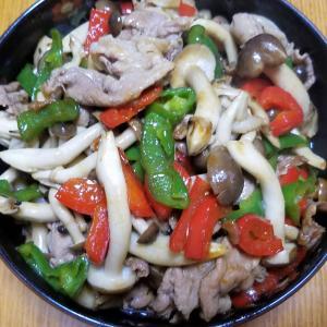 昨日の晩御飯「豚肉とシメジの照り焼き炒め」「シシトウと糸コンニャクの甘辛煮」