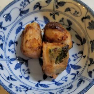 昨日の晩御飯「カボチャの肉巻き」「シシトウと小松菜の酢味噌あえ」「簡単肉じゃが」