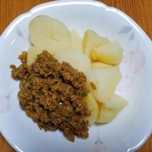 昨日の晩御飯「じゃがいもとキーマカレー」「豆腐とタケノコの中華餡掛け」