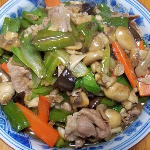 昨日の晩御飯「キノコとレタス、豚肉の中華炒め」