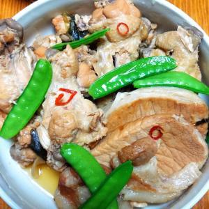昨日の晩御飯「鶏と豚肉のさっぱり煮」