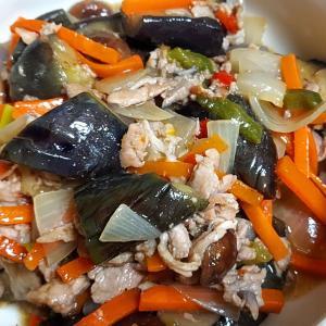 昨日の晩御飯「茄子と豚肉の中華炒め」