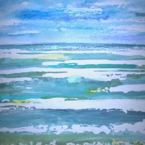 砂金のように煌めいた海